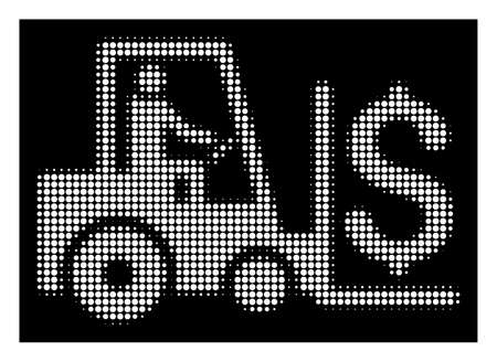 Halftone dotted money warehouse icon. White pictogram with dotted geometric pattern on a black background. Vector money warehouse icon done of circle blots.
