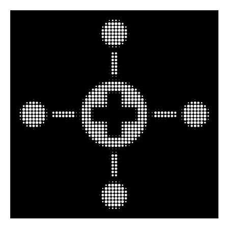 Halftone pixelated medical center icon. White pictogram with pixelated geometric structure on a black background. Vector medical center icon constructed of rounded items.