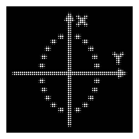 Halftone pixel dotted ellipse plot icon. White pictogram with pixel geometric pattern on a black background. Vector dotted ellipse plot icon combined of round elements.