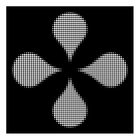 Halftone pixelated map markers icon. White pictogram with pixelated geometric structure on a black background. Vector map markers icon composed of round elements.