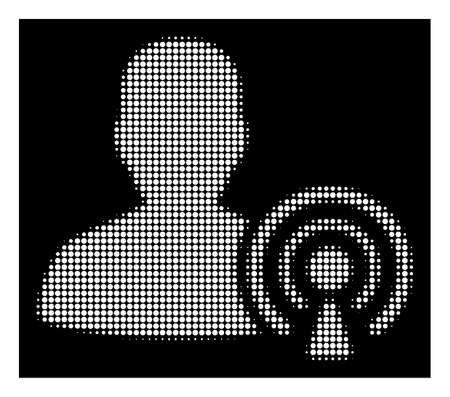 Halftone pixel podcast creator icon. White pictogram with pixel geometric pattern on a black background. Vector podcast creator icon organized of round spots. Ilustração