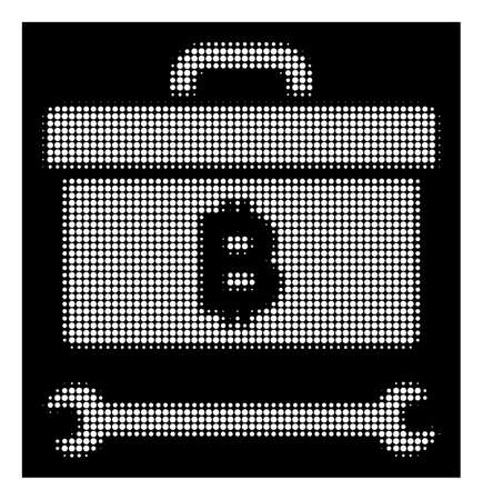 Halftone pixelated Bitcoin toolbox icon. White pictogram with pixelated geometric pattern on a black background. Vector Bitcoin toolbox icon organized of round items.