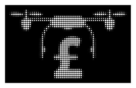 Halftone pixel drone pound business icon. White pictogram with pixel geometric structure on a black background. Vector drone pound business icon combined of round blots. Illustration