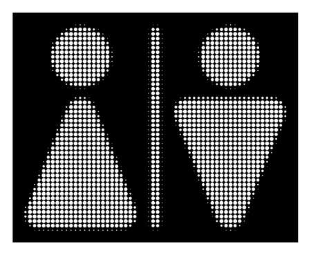 Halftone pixelated WC persons icon. White pictogram with pixelated geometric pattern on a black background. Vector WC persons icon constructed of circle blots.