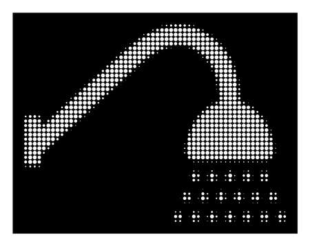 Halftone dotted shower icon. White pictogram with dotted geometric pattern on a black background. Vector shower icon created of circle blots.