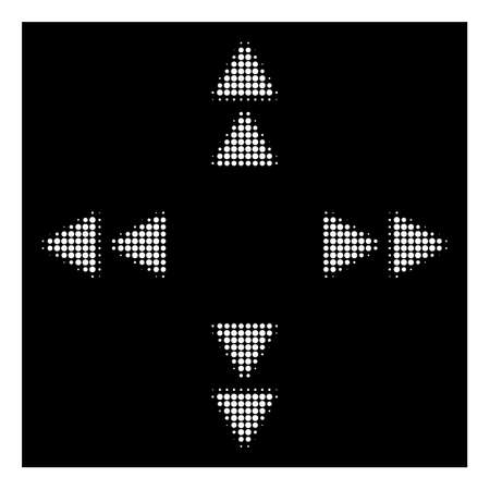 Halftone pixel move out icon. White pictogram with pixel geometric pattern on a black background. Vector move out icon combined of rounded items.