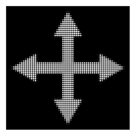 Halftone pixelated quadro arrows icon. White pictogram with pixelated geometric structure on a black background. Vector quadro arrows icon combined of circle elements.