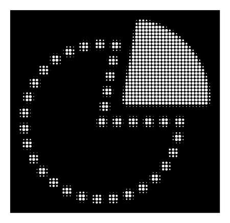 Halftone pixelated pie chart icon. White pictogram with pixelated geometric pattern on a black background. Vector pie chart icon combined of round spots. Illustration