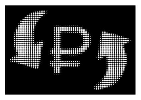 Halftone dotted update rouble balance icon. White pictogram with dotted geometric pattern on a black background. Vector update rouble balance icon combined of rounded points.