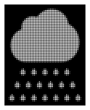 Halftone dotted rain cloud icon. White pictogram with dotted geometric structure on a black background. Vector rain cloud icon designed of rounded blots. 일러스트