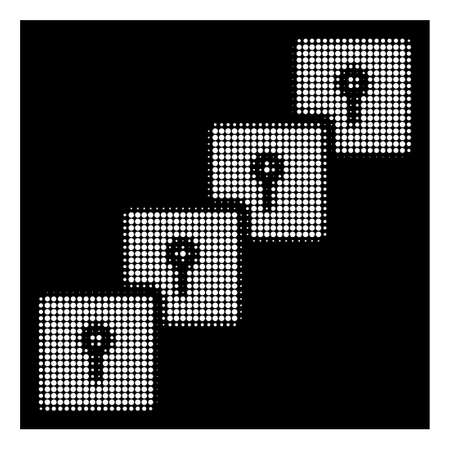 Halftone pixelated locker blockchain icon. White pictogram with pixelated geometric structure on a black background. Vector locker blockchain icon designed of round spots. Illustration