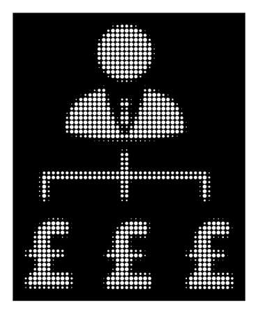 Halftone pixelated boss pound payments icon. White pictogram with pixelated geometric pattern on a black background. Vector boss pound payments icon done of round dots.