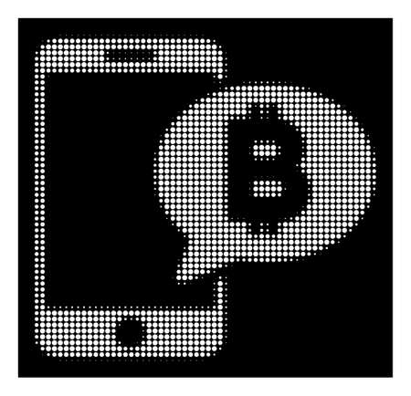 Halftone pixelated phone Bitcoin SMS icon. White pictogram with pixel geometric structure on a black background. Vector phone Bitcoin SMS icon organized of round elements.