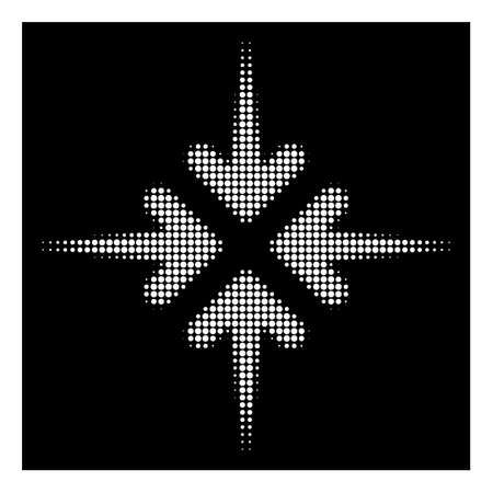 Halftone pixel impact arrows icon. White pictogram with pixel geometric pattern on a black background. Vector impact arrows icon composed of circle spots.