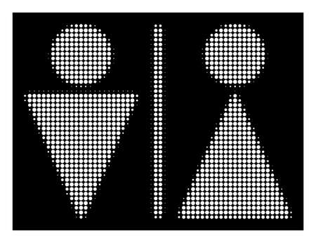 Halftone pixel WC persons icon. White pictogram with pixelated geometric pattern on a black background. Vector WC persons icon done of round dots.