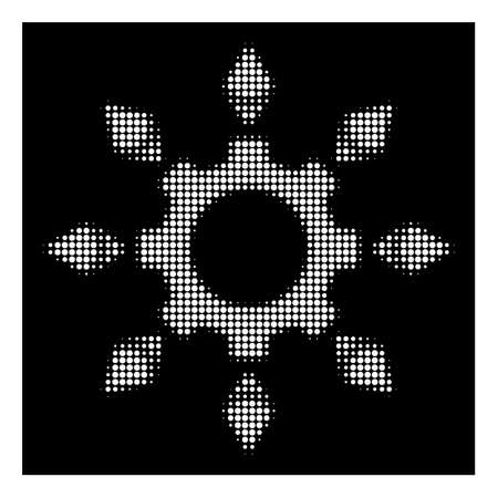 Halftone pixel Ethereum configuration gear icon. White pictogram with pixel geometric pattern on a black background. Vector Ethereum configuration gear icon created of rounded spots. Illustration