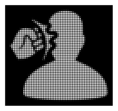 Halftone pixelated head strike icon. White pictogram with pixelated geometric pattern on a black background. Vector head strike icon organized of round dots.