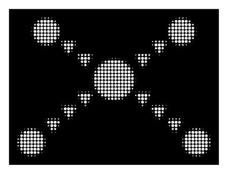 Halftone dotted links icon. White pictogram with dotted geometric pattern on a black background. Vector dotted links icon done of circle pixels. Ilustração