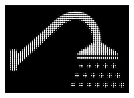 Halftone pixel shower icon. White pictogram with pixel geometric pattern on a black background. Vector shower icon composed of circle blots.
