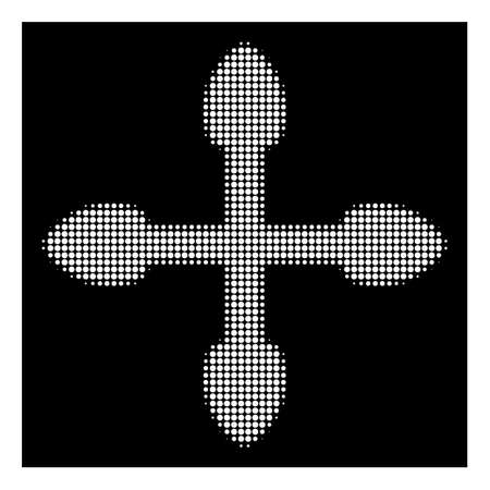 Halftone pixel arrows icon. White pictogram with pixel geometric structure on a black background. Vector arrows icon created of circle dots. Illustration