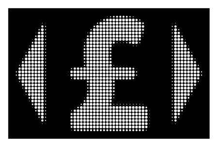 Halftone pixel regulate pound price icon. White pictogram with pixel geometric pattern on a black background. Vector regulate pound price icon organized of round spots. Illustration