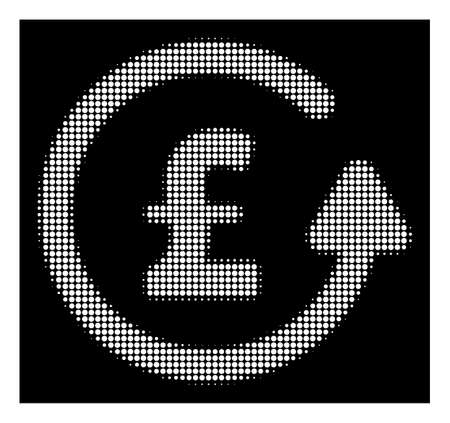 Halftone pixel chargeback pound icon. White pictogram with pixel geometric structure on a black background. Vector chargeback pound icon composed of rounded spots. Illustration