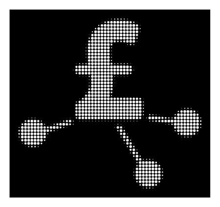 Halftone pixelated pound bank branches icon. White pictogram with pixelated geometric pattern on a black background. Vector pound bank branches icon organized of circle blots.