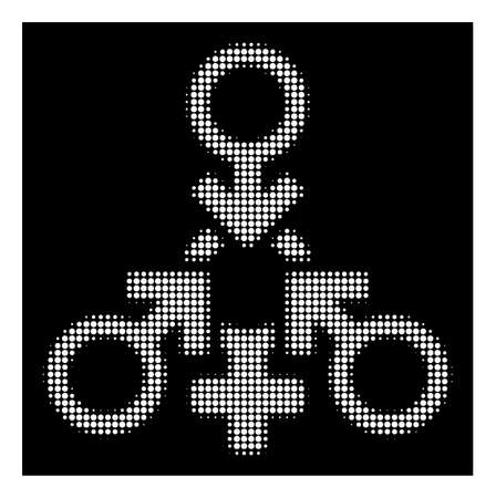 Halftone pixel triple penetration sex icon. White pictogram with pixel geometric pattern on a black background. Vector triple penetration sex icon organized of rounded elements.