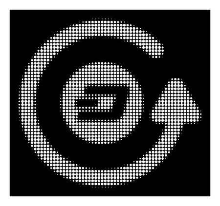 Halftone pixelated Dash chargeback icon. White pictogram with pixelated geometric structure on a black background. Vector Dash chargeback icon organized of rounded spots.