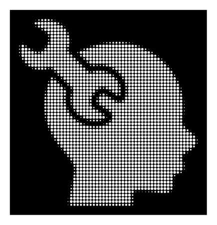 Halftone pixelated brain service wrench icon. White pictogram with pixelated geometric structure on a black background. Vector brain service wrench icon organized of circle items. Illustration
