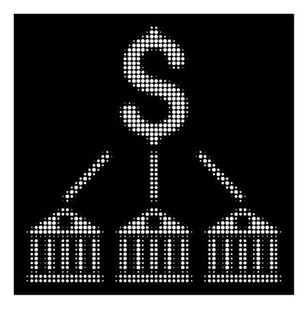 Halftone pixel bank expenses icon. White pictogram with pixel geometric structure on a black background. Vector bank expenses icon organized of rounded dots.