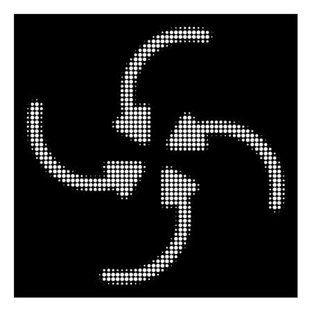 Halftone pixel vortex arrows icon. White pictogram with pixel geometric structure on a black background. Vector vortex arrows icon combined of rounded points.