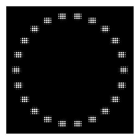 Halftone pixel dotted circle icon. White pictogram with pixel geometric pattern on a black background. Vector dotted circle icon done of rounded spots.