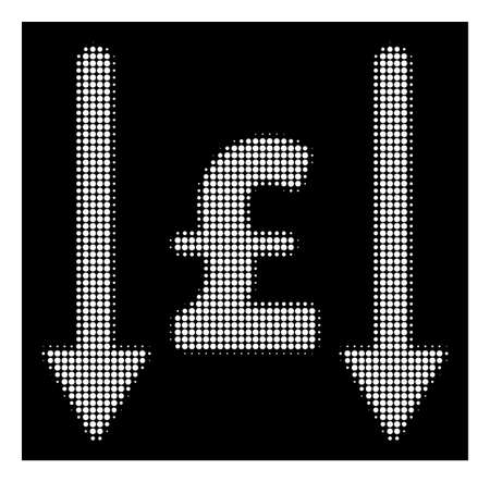 Halftone pixelated receive pound icon. White pictogram with pixelated geometric structure on a black background. Vector receive pound icon created of rounded pixels.