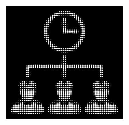 Halftone pixel time army icon. White pictogram with pixel geometric pattern on a black background. Vector time army icon designed of round items.