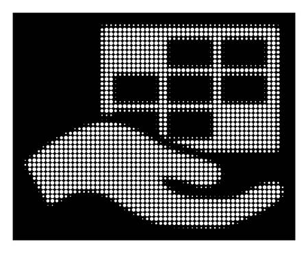 Halftone pixelated service schedule icon. White pictogram with pixelated geometric pattern on a black background. Vector service schedule icon created of circle items.
