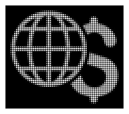 Halftone pixelated global finances icon. White pictogram with pixelated geometric structure on a black background. Vector global finances icon created of rounded spots. Illustration