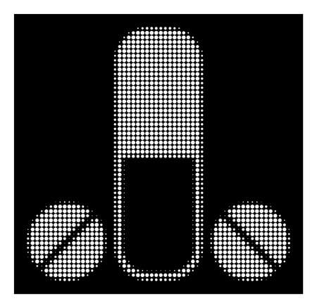 Halftone pixel male medication icon. White pictogram with pixel geometric structure on a black background. Vector male medication icon designed of round dots. Illustration