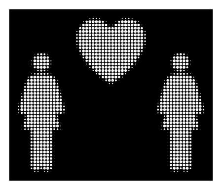 Halftone pixelated lesbi love pair icon. White pictogram with pixelated geometric structure on a black background. Vector lesbi love pair icon combined of rounded spots. Illustration