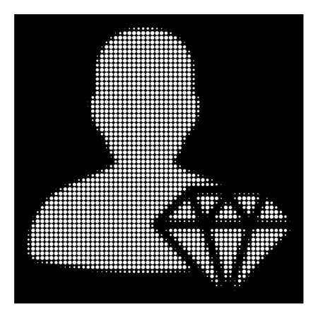 Halftone dotted goldsmith icon. White pictogram with dotted geometric structure on a black background. Vector goldsmith icon designed of circle points.