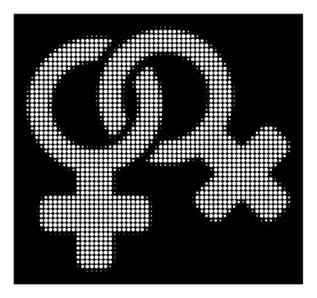 Halftone pixelated lesbi symbol icon. White pictogram with pixelated geometric structure on a black background. Vector lesbi symbol icon done of round spots.