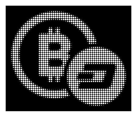 Halftone dotted Bitcoin and Dash icon. White pictogram with dotted geometric structure on a black background. Vector Bitcoin and Dash icon organized of round blots. Illustration