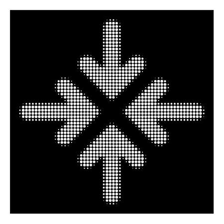 Halftone dotted quadro collide arrows icon. White pictogram with dotted geometric pattern on a black background. Vector quadro collide arrows icon designed of round elements.