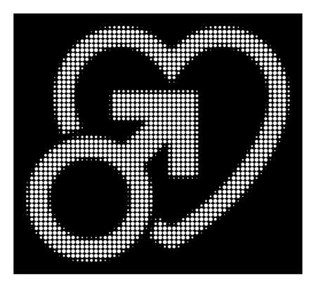 Halftone pixel male love icon. White pictogram with pixel geometric pattern on a black background. Vector male love icon constructed of circle blots. Illustration