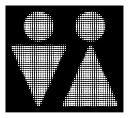 Halftone dotted WC persons icon. White pictogram with dotted geometric structure on a black background. Vector WC persons icon composed of circle pixels.