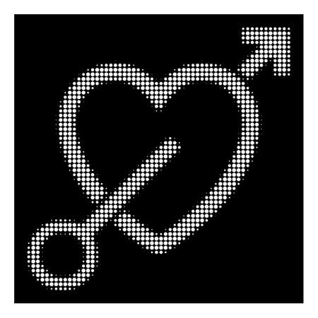 Halftone pixelated love arrow icon. White pictogram with pixelated geometric structure on a black background. Vector love arrow icon constructed of circle elements.