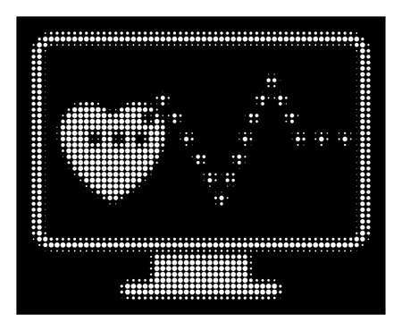 Halftone pixelated cardio monitoring icon. White pictogram with pixelated geometric structure on a black background. Vector cardio monitoring icon composed of circle pixels.