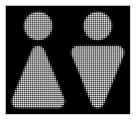 Halftone pixelated WC persons icon. White pictogram with pixelated geometric pattern on a black background. Vector WC persons icon created of round points. Illustration