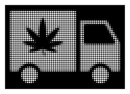 Halftone dotted cannabis delivery van icon. White pictogram with dotted geometric pattern on a black background. Vector cannabis delivery van icon done of rounded dots.