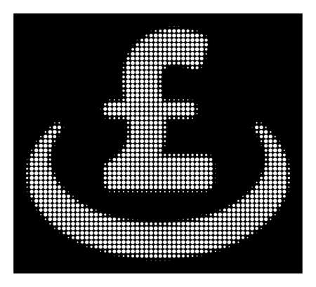 Halftone pixelated pound deposit placement icon. White pictogram with pixelated geometric pattern on a black background. Vector pound deposit placement icon done of circle blots.